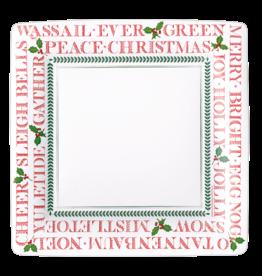 Caspari Christmas Paper Salad-Dessert Plates 8pk Square Yuletide Cheer