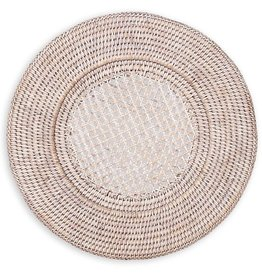 Caspari Rattan Chargers 13 Inch Round White Washed Charger