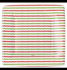 Caspari Paper Salad-Dessert Plates 8pk Square Rickrack Red Green