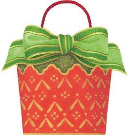 Caspari Christmas Gift Bag 6x5x4.75 inch Cachepot And Ribbon