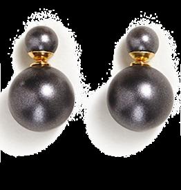 Twos Company Double Pearl Earrings Dark Grey Glass