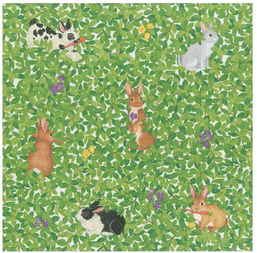 Caspari Easter Paper Cocktail Napkins  20pk Bunnies And Boxwood
