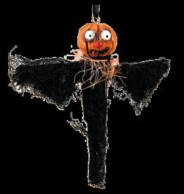 Gallerie II Joe Spencer Halloween Ornament Pumpkin Bat 7 inch