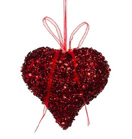 Allstate Floral Glittered Heart 4 inch Hanging Ornament Decoration Red by Allstate