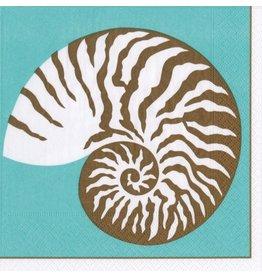 Caspari Paper Cocktail Napkins 20pk 13782C Nautilus Turquoise