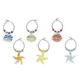 Midwest-CBK Wine Glass Charms Set of 6 Starfish n Seashell Wine Charms