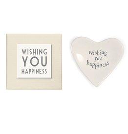 East of India Porcelian Heart Dish Keepsake w Wishing You Happiness E2076 by East of India