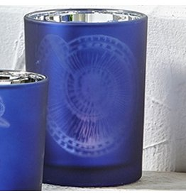 Twos Company Frosted Candleholder Blue MD 4in w Nautilus Shell