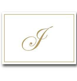 Caspari Gold Embossed Initial Note Cards Letter J Boxed Set of 8