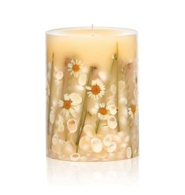 Rosy Rings Botanical Candle Pillar Beach Daisy 6.5Hx5D Round
