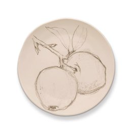 Rosy Rings Ceramic Botanical Candle Plate Round w Apple