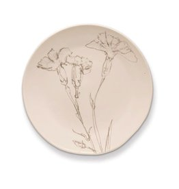 Rosy Rings Ceramic Botanical Candle Plate Round w Flower