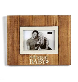 Mud Pie Pet Photo Frame w Our First Baby and Paw Print Holds 4x6 Photo