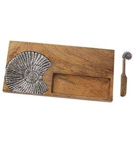 Mud Pie Wood w Metal Nautilus Serving Board Set Cracker Well w Spreader