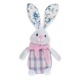 Midwest-CBK Plush Easter Bunny Sitter w Gingham-Floral Print 7702408-B