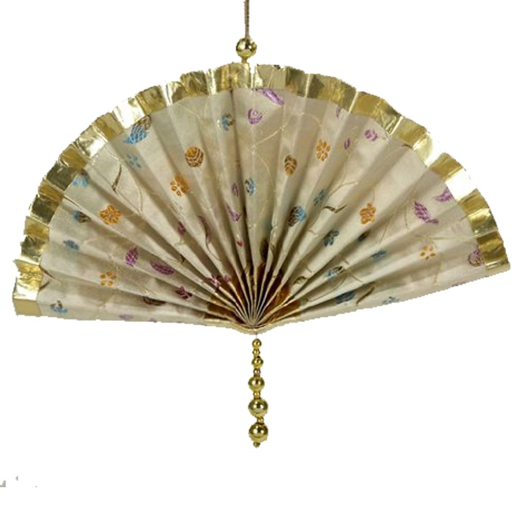 Christmas Ornament Oriental Asian Fan w Print