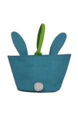 Twos Company Bunny Kisses Easter Basket Jute Bag Blue