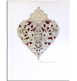 Constance Kay Art Card Heart w White Pearled Lace X-Large 12x9 inch