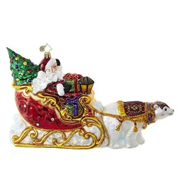 Christopher Radko Ornament Polar Bear Run Puling Santas Sleigh 1018726