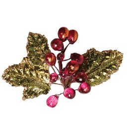 Caspari Purple Grapes Napkin Ring w Glittered Leaves HN500