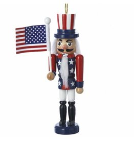 Kurt Adler Patriotic American Flag Nutcracker Wooden Ornament 5 Inch