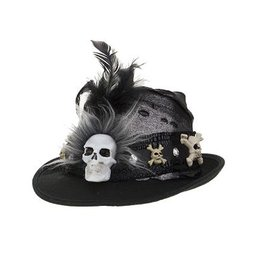 Mark Roberts Fairies Halloween Hat Skeleton Cowboy Fedora - B