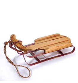Darice Christmas Decor Wood Sleigh w Red Sled Metal Runners 16x5.5x5