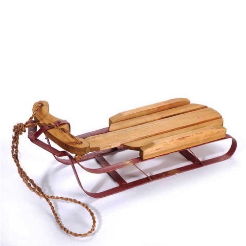 Darice Christmas Decor Wood Sleigh W Red Sled Metal Runners 16x55x5