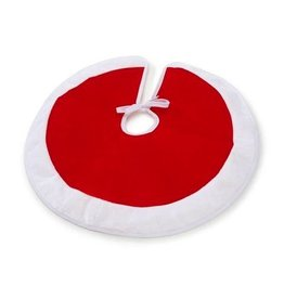 Darice Mini Christmas Tree Skirt 18D Inches Red Plush w White Border