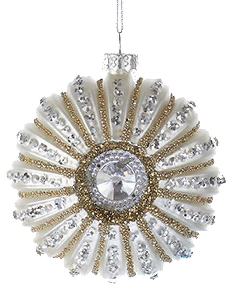 Kurt Adler Glitter W Gems Shell Ornament 3 Inch White Sea Urchin
