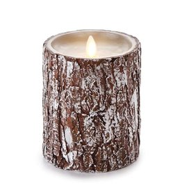 Luminara Flameless Candle Pillar w Silver Washed Bark 4Dx5H inch