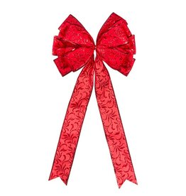 Darice Christmas Red Bow w Scrolls - Tree Topper 11x22 inch