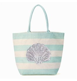 Twos Company Jute Tote Bag With Sequin Shell Icon On Aqua White Stripes