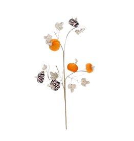 Mark Roberts Stylish Home Decor Fall Floral Spray Glitter Leaf w Pumpkins Pick 27in Swirl
