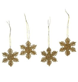 Darice Mini Glittered Snowflakes Ornaments 2 inch 12-Pack Gold