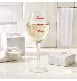 Twos Company Merriest Wine Glass w Merriest Merrier Merry 14oz