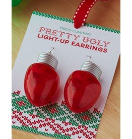 Twos Company Pretty Ugly LED Light Up Christmas Bulb Earrings RED