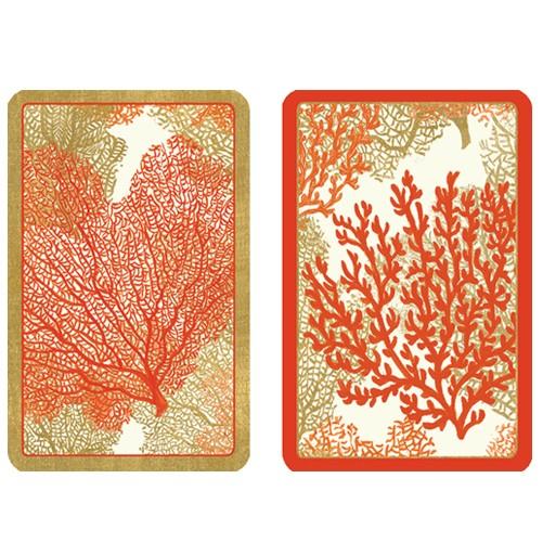 Caspari Playing Cards Bridge Cards 2 Decks - Sea Fans