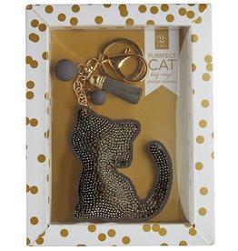 Twos Company Cat Rhinestone Key Chain GREY Cat