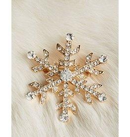 Twos Company Gold Snowflake Jeweled Christmas Lapel Pin
