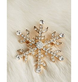 Twos Company Jeweled Christmas Lapel Pin - Gold Snowflake