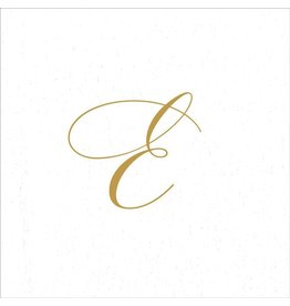 Caspari Paper Linen Airlaid Initial E White Pearl Cocktail Napkins 30pk