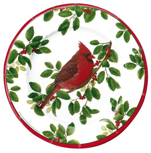 Christmas Paper Plates.Caspari Christmas Paper Salad Dessert Plates Rd 8pk Winter Songbirds