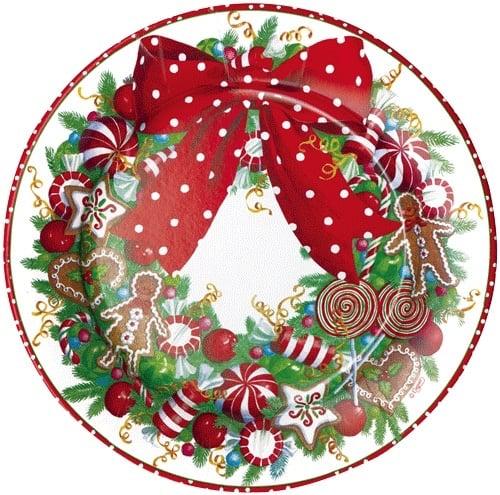 Christmas Paper Plates.Caspari Christmas Paper Salad Dessert Plates Rd 8pk Candy Wreath