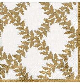 Caspari Christmas Paper Dinner Napkins 20pk Acanthus Ivory Gold