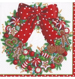 Caspari Christmas Paper Luncheon Napkins 20pk Candy Wreath