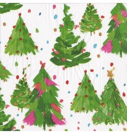 Caspari Christmas Paper Cocktail Napkins 20pk Brushstroke Trees