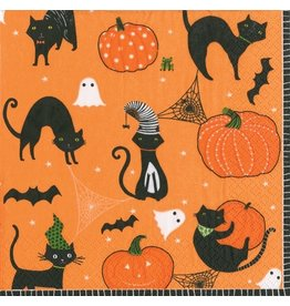 Caspari Halloween Party Cocktail Napkins 20ct Scaredy Cats Orange