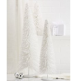 Twos Company White Flocked Glittered Christmas Trees 3pc Set 16-32inch
