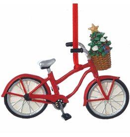 Kurt Adler Bicycle w Christmas Tree in Basket Ornament